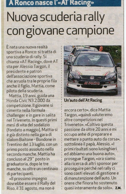 da: quotidiano L'ARENA  2010 -    AT Racing.it